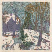 Anna Gerresheim (1852 Ribnitz – 1921 Ahrenshoop)Haus auf verschneitem Hügel (Schiffe