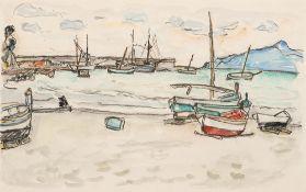 Ivo Hauptmann (1886 Erkner – 1973 Hamburg)Boote am Strand.Aquarell und Kohlezeich