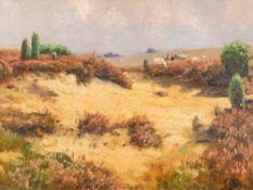 Fritz Grebe (1850 Heisebeck – 1924 Düsseldorf)Weidende Schafe in den Dünen.Öl