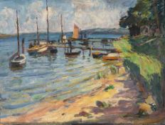 Hans-Otto Gehrcke (1896 Langelsheim/Harz – 1988 Ferch)Boote am Bodden, Insel Rügen.<