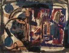 Veit Hofmann (1944 Dresden, lebt in Dresden)o.T. Mischtechnik (Holzschnitt, Aquarel