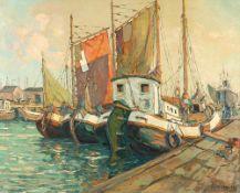 Tom Beyer (1907 Münster – 1981 Stralsund)Im Hafen.Öl auf Leinwand. 1960. 800 x