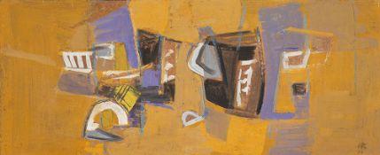 Hans Kinder (1900 – Dresden – 1986)Supraporte.Gouache auf Hartfaserplatte. 1978