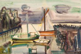 Hedwig Holtz-Sommer (1901 Berlin – 1970 Wustrow)Anlandende Segler in Wustrow.Aqua