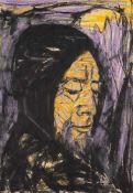 Kate Diehn-Bitt (1900 Berlin – 1978 Rostock)Zwei Zeichnungen.1. Mann mit Kapuze.
