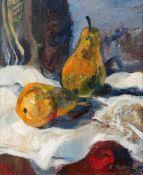 Rudolf Austen (1931 Hainspach/Böhmen – 2003 Rostock) Stillleben mit zwei Birnen. Öl auf