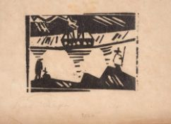 Lyonel Feininger (1871 – New York – 1956)Angler und Dampfer.Holzschnitt auf Jap