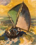 Eduard Bischoff (1890 Königsberg – 1974 Soest)Segler auf stürmischem Haff.Öl a