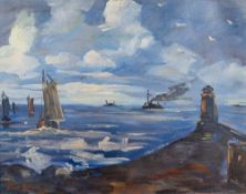 Tom Beyer (1907 Münster – 1981 Stralsund)An der Mole.Öl auf Malkarton. Um 1950.