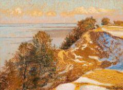 Elisabeth Andrae (1876 Leipzig – 1945 Dresden)Steilküste im Winter.Öl auf Hartf