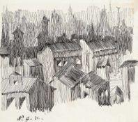 Natalija Gontscharowa (1881 Nagaevo – 1962 Paris)Blick aus meinem Atelier.Federze