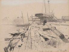 Louis Douzette (1834 Tribsees – 1924 Barth)Im Dock (Barth).Bleistift auf Papier.