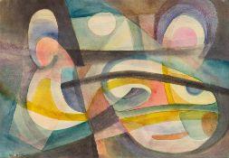 Edmund Kesting (1892 Dresden – 1970 Birkenwerder b. Berlin)Masken.Aquarell auf Pa