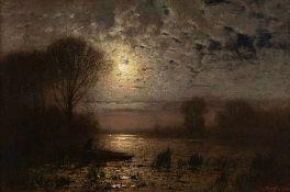 Louis Douzette (1834 Tribsees – 1924 Barth)Barther Bodden bei Nacht.Öl auf Leinw