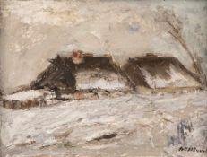 Carl Hinrichs (1903 Nürnberg – 1990 Schwerin)Katen im Snei.Öl auf Hartfaser. Um