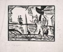Lyonel Feininger (1871 – New York – 1956)Auf der Quaimauer.Holzschnitt auf Japa