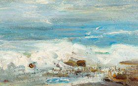 Elisabeth Büchsel (1867 – Stralsund – 1957)Meeresbrandung.Öl auf Malkarton. U