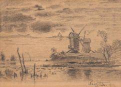 Louis Douzette (1834 Tribsees – 1924 Barth)Mühlen im Mondlicht.Bleistift auf Pap