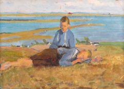 Elisabeth Büchsel (1867 – Stralsund – 1957)Fischerjungen auf Hiddensee.Öl auf