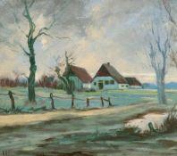 Erich Theodor Holtz (1885 Storkow – 1956 Wustrow)Gehöft in Wieck Darß.Öl auf M