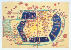 """Friedensreich Hundertwasser(1928-2000)""""Automobil mit roten Regentropfen - 153A""""1953/64<"""