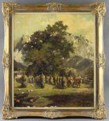 "Alexander Follak (1915 - 2006) - Öl auf Leinwand, ""Landarbeiter mit Ochsengespann beim Heu"