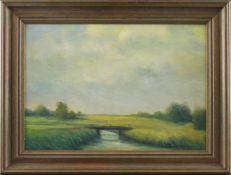 """Feodor Szerbakow (1911 - 2009) - Öl auf Hartfaserplatte, """"Sommer im Worpswedermoor mit Moorgraben"""
