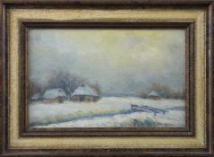 """Feodor Szerbakow (1911 - 2009) - Öl auf Hartfaserplatte, """"Winter im Worpsweder Moor"""", unten rechts"""