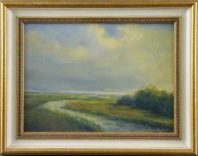 """Feodor Szerbakow (1911 - 2009) - Öl auf Hartfaserplatte, """"Moorgraben im Sommer mit Buschwerk"""", unten"""