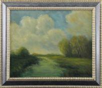 """Feodor Szerbakow (1911 - 2009) - Öl auf Hartfaserplatte, """"Moorlandschaft im Herbst"""", unten rechts"""