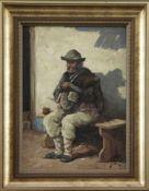 """Arnost Smetana (1902 - ?) - Öl auf Leinwand, """"Alter Mann mit Schleifutensilien vor dem Haus in der"""