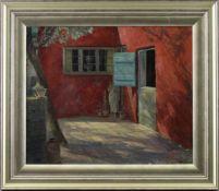 """Eiler (Carl E.) Sorensen (1869 - 1963) - Öl auf Leinwand, """"Roter Hof"""", 1944, unten rechts"""
