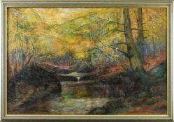 """Richard Fuhry (1882 - ?) - Öl auf Leinwand, """"Herbst im Ilsetal/Harz"""", um 1920, unten rechts"""