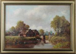 """Erich Zimmermann (1908 - 2007) - Öl auf Leinwand, """"Frühling am Moorgehöft"""", unten links signiert,"""