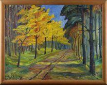 """Maria Heckert-Fechner (1880 - 1950) - Öl auf Leinwand, """"Goldener Herbst"""", unten links signiert,"""