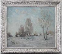 """Feodor Szerbakow (1911 - 2009) - Öl auf Hartfaserplatte, """"Russisches Dorf im Winter"""", unten rechts"""