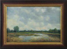 "Feodor Szerbakow (1911 - 2009) - Öl auf Hartfaserplatte, ""Mit bewölktem Himmel"", unten rechts"