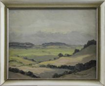 """Ewald Oesinghaus (1890 - 1963) - Öl auf Hartfaserplatte, """"Landschaftsimpression aus der"""