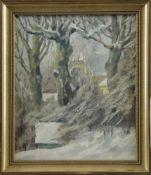"""Johannes Ridder (1886 - 1969) - Öl auf Malkarton, """"Winter in Blankenese"""", verso beschrieben """""""