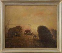 """Istvan Kovacz (20. Jhd.) - Öl auf Hartfaserplatte, """"Landarbeiter bei der Ernte mit Dampfmaschine"""","""