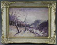 """Maria Franculescu (1922 - ?) - Öl auf Malkarton, """"Winter in den Tälern um Covasna"""", 1968, unten"""