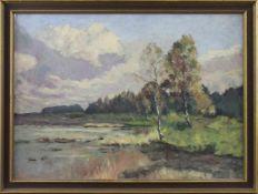 """Hans Angresius (1897 - 1974) - Öl auf Malpappe, """"Im Heide Moor"""", unsigniert, verso Aufkleber mit den"""