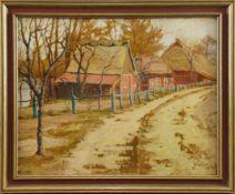 """Hugo Schnüge (1875 - 1960) - Öl auf Leinwand, """"Spätherbst in Schleswig-Holstein mit alten"""