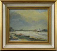 """Feodor Szerbakow (1911 - 2009) - Öl auf Hartfaserplatte, """"Winter im Moor"""", unten rechts signiert,"""