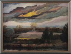 """Heinz Dodenhoff (1889 - 1981) - Öl auf Malkarton, """"Moortümpel / Moorlandschaft im Nebel"""", unten"""