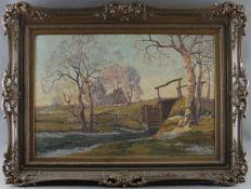 """Hans Hentschke (1889 - 1969) - Öl auf Leinwand, """"Vorfrühling im Worpsweder Moor mit Strohdachkate"""