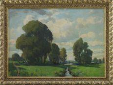 """Robert Schmidt-Hamburg (1885 - 1963) - Öl auf Leinwand, """"Norddeutsche Landschaft mit Kühen unter"""
