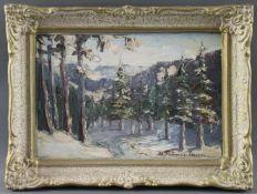 """Maria Franculescu (1922 - ?) - Öl auf Malkarton, """"Winter in den Tälern um Covasna"""", 1982, unten"""