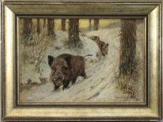 """Alfred Weczerzick (1864-1952) - Öl auf Malkarton, """"Wildschweine in Winterlandschaft"""", unten rechts"""