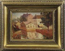 """Impressionist (1. H. 20. Jhd.) - Öl auf Holz, """"Stadtlandschaft"""", um 1910./20., unsigniert, guter"""
